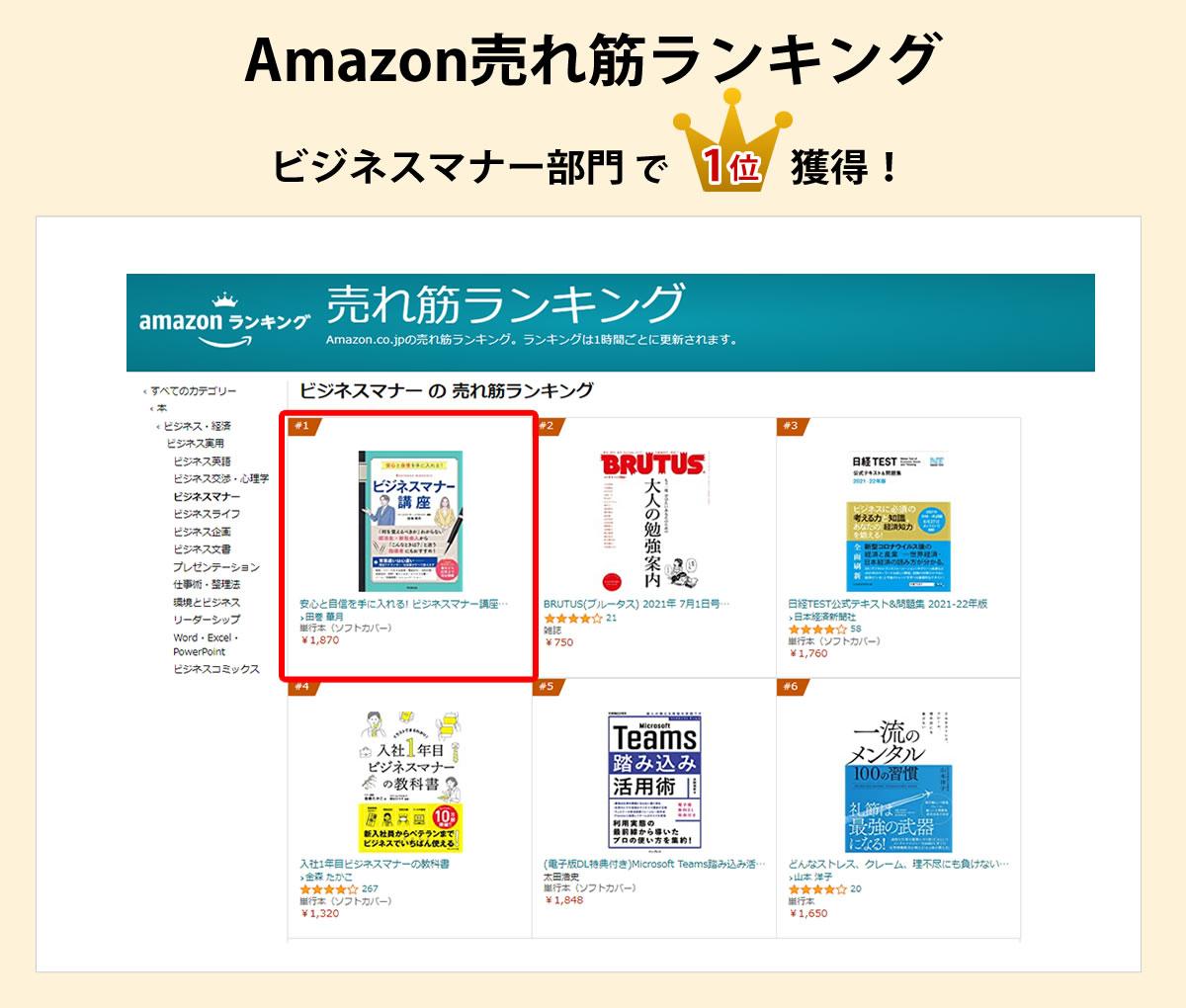 Amazon売れ筋ランキングビジネスマナー部門で1位獲得!